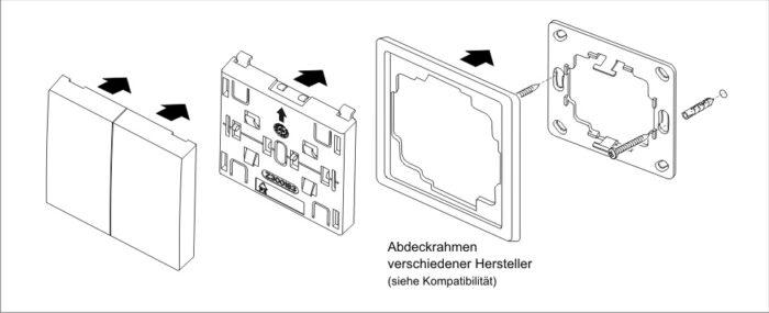 Wandtaster RTS23 1-Kanal Format 55 1XAUF/STOPP/ZU weiß